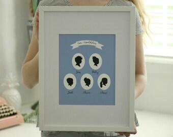 Custom Family Portrait Silhouette Print // portrait with children or grandchildren // family tree / Mother's Day Gift