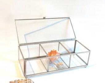 Clear Glass Jewelry Box 3 Compartments Trinket Small Storage