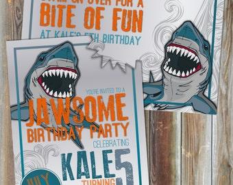 Shark Theme Birthday Invitation, Boy's Birthday Invitation, Pool Party Invitation, Custom Birthday Invitation, Printable, Ocean, Jaws,