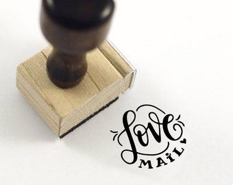 Love Mail - Hand Lettered stamp -  1x1 stamp