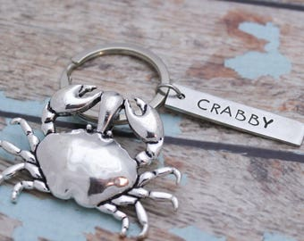 Personalized Crab Key Chain, Crab Keychain, Crabby Key Chain, Personalized Gifts for Him, Customized Gift for Her, Hand Stamped Key Chain