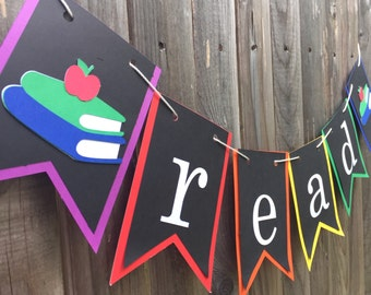 Read Banner - Back to School - Teacher - Classroom decor - Library sign, Decoration, Math Science, Read Write, Teacher sign, Teacher gift