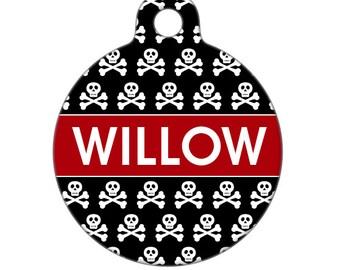Custom Pet ID Tag - Willow Skull and Crossbones Custom Name - Pet Tag, Dog Tag, Cat Tag