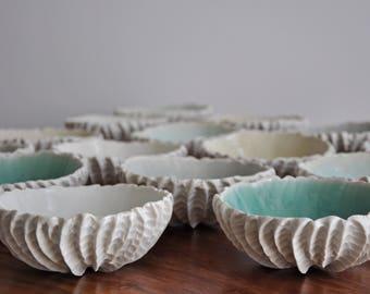 SALE Gold or White Medium Scallop Bowl - Crackle Glaze,  Trinket Dish, White Ceramic Bowl, Ceramic Bowl, Gift for Her, Handmade Pottery