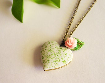 Floral Heart Photo Locket, Heart Charm Necklace, White and Green Vine Locket with Green Patina Leaf and Pink Rose Charm