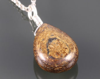 Bronzite Teardrop Pendant. Sterling Silver Necklace. Genuine Gemstone. 16 Inch, 18 Inch, or 20 Inch Necklace. f16n008