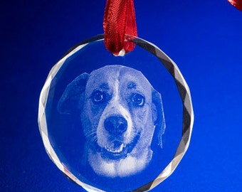 Custom Photo Crystal Ornament, Laser Engrave Picture in Glass Ornament ** Free Shipping