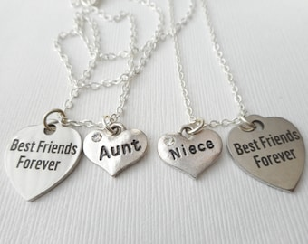 2 Aunt and Niece, Best Friends Forever Necklaces/ Friend, Best Auntie, Aunt, Best aunt ever, gift for aunt, Necklace for niece, Friendship