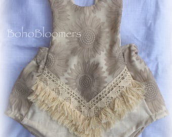 Girl Rompers Boho Romper Bohemian Clothing Baby Romper Girl Romper Boho Baby Cake Smash Romper Hippie Baby Clothes Lace Romper Fringe Romper
