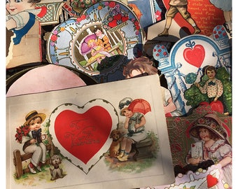 Vintage Valentine's Day Cards/Package Toppers/Craft Tops