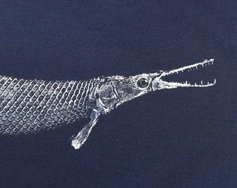 GYOTAKU fish Rubbing Alligator GAR 8.5 X 11 Fisherman Gift quality Fishing Art Print by artist Barry Singer