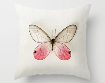 Decorative Pillow Cover, Photo Pillow Case, Accent Pillow Case, Pink Butterfly Pillow Case, Pastel Pink White, Home Decor, 16, 18, 20 inch