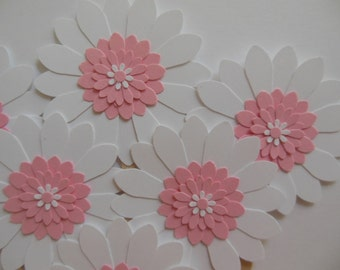 Flower Cupcake Toppers - Pink and White Daisies - Girl Birthday Parties - Bridal Showers - Weddings - Girl Baby Showers - Set of 6