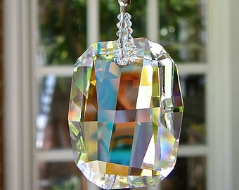 """Swarovski Graphic Crystal Suncatcher, Asymmetrical Faceting, Unique and Whimsical, Window Prism, """"ZOE"""" Choice of 2 Colors, both DISCONTINUED"""