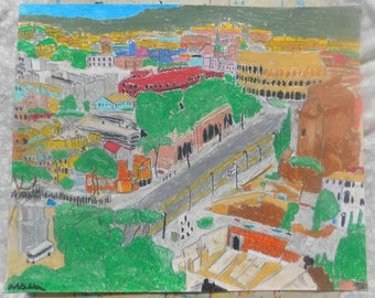 art, original oil pastel and drawing, rome, Italy