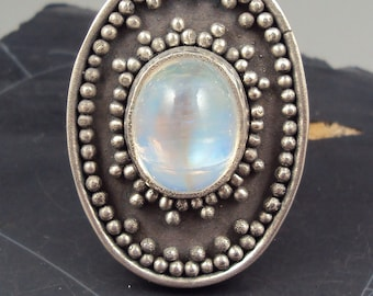 50 BUCK SALE Moonstone Granulated Ring size 6