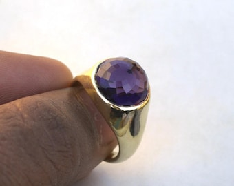 Rose Cut Amethyst Gemstone Ring- Round Cut Amethyst Bezel Ring- 18K Yellow Gold Over Sterling Silver Ring- Emerged Birthstone Gift Ring