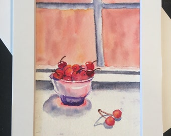 greeting card, Watercolor, all occasion card, Thank you card, birthday card, anniversary, note card, blank, Window, Bowl of cherries
