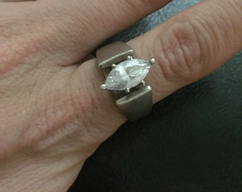 Vintage Sterling Silver Marquise Crystal Solitary Ring size 8.5
