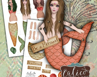 Printable, Mermaid, Paper Dolls, Digital, Art Dolls, Collage Sheet, Altered Art, Mermaid Tale, Decoupage Paper, Craft Sheet, Art Doll