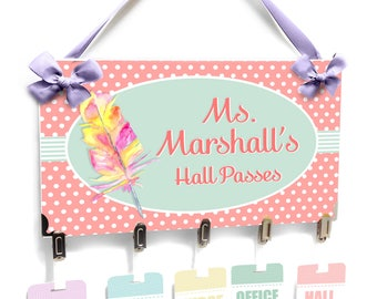 personalized teacher hall passes, pale colors theme with feather - students hall badges - CHP157