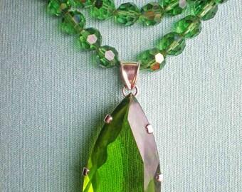 Repurposed Green Glass Necklace - Quartz Sterling Silver Pendant