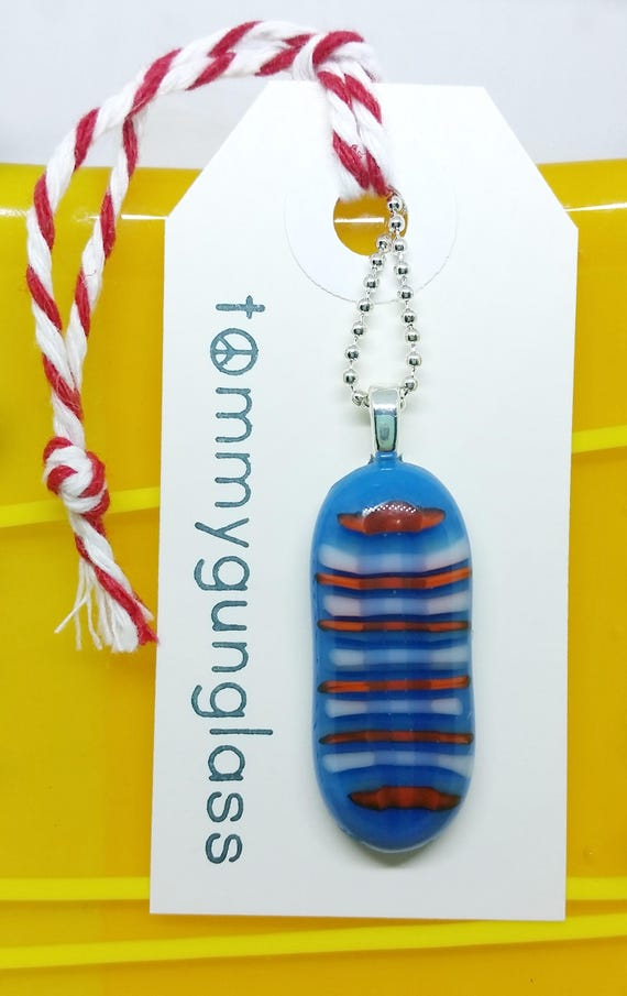 Red, White and Blue Striped Fused Glass Pendant with Chain