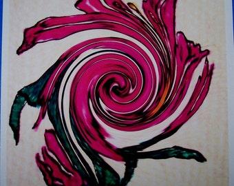 Impression abstraite 6 pétale fleur rose 8 X 10 photo brillant papier numérique