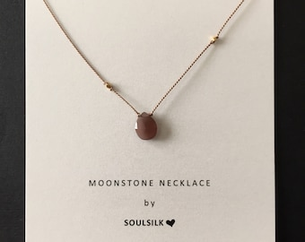 chocolate MOONSTONE with gold nuggets sulk necklace woman's gift jewelry card dainty gemstone hand knotted keepsake delicate layering