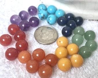 35 pc. 8 mm Chakra Beads, Chakra Stones, Healing Crystals, Mala Beads, 5 each of 7 stones,  1/3 inch ea., Yoga Jewelry