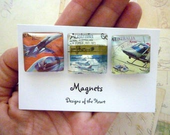Square Glass Magnet set - Recycled Australian Stamp Collection - Planes and Helicopters