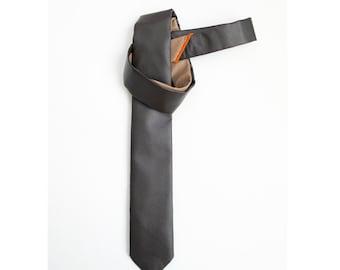 Espresso two tones faux leather skinny tie