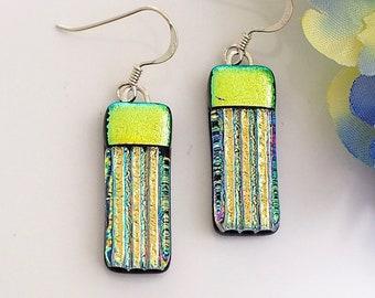 Dichroic Glass Earrings - Gold Earrings - Gold Green Drop Earrings - Fused Glass Jewellery - Handmade Earrings EE 701