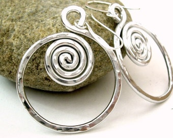 Spiral Hoop Earrings Silver Wire Earrings Silver Spiral Earrings Aluminum Wire Jewelry Aluminum Earrings Hammered Silver Earrings Kiawah