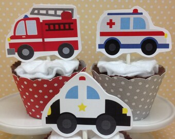 Emergency Vehicles, Ambulances, Police Cars, Fire Trucks Party Cupcake Topper Decorations - Set of 10