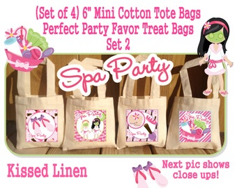 Spa Party Treat Favor Gift Bags Mini Cotton Totes Children Kids Girls Birthday Party Baby Bridal Shower Set of 4 or 8