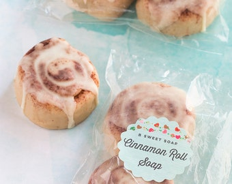 4 Mini Cinnamon Roll Soaps, cinnamon soap, stocking stuffer, bun in the oven, food soap, party favor, soap favor, baby shower favor