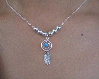 Chain Choker necklace Silver 925, dream catcher pendant