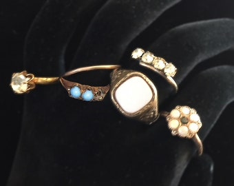 1890s Victorian costume jewelry rings Lot of 6