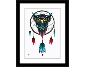 Owl Dreamcatcher drawing high gloss print, poster, wall art, home decor, A3, A4