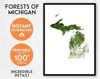 Forests of Michigan map print, Printable Michigan map art, Michigan print, USA map, Michigan art, Michigan poster, Michigan wall art print