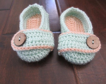 Child Toddler Baby Button Slippers - Crochet shoes - crochet shoes - child kids slippers - mint and coral