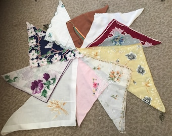 Collection of 10 vintage hankies / handkerchiefs in assorted colors, styles, and sizes. #925