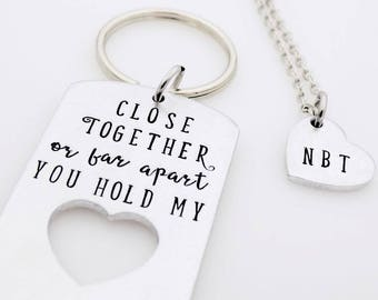 Close together, or far apart, matching couples, keychain set, custom handstamped, long distance love, gift set, long distance, relationship