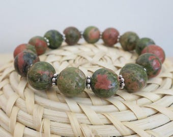 Elastic stretch bracelet made with Unakite beads
