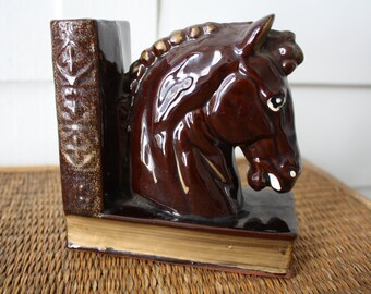 Horse head bookend, bookend, single bookend, ceramic horse bookend, Hollywood Regency