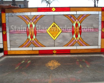 """The """"Murrieta """" Beautiful Geometric Leaded Stained Glass Window Panel  (We do custom work, email for a quick quote)"""