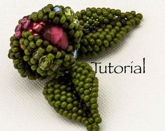 Beaded Bead Tutorial  Rosebud Digital Download (includes leaves)
