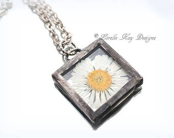 English Daisy Flower Necklace Pressed Flower Delicate Daisy Soldered Botanical Pendant Lorelie Kay Original