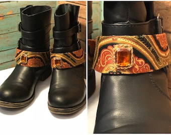 Boot Jewelry- Pretty paisley pattern material with a vintage light orange emerald shaped stone in the middle. Pair (2). Free Shipping!